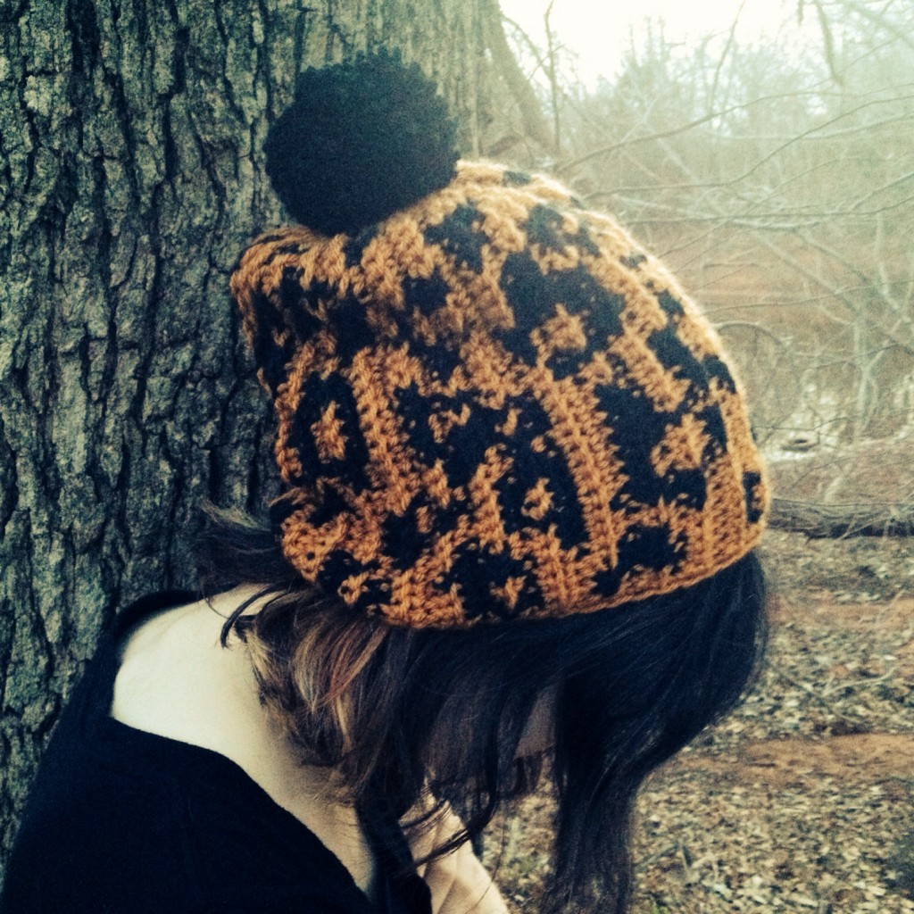 Macie in her leopard print hat