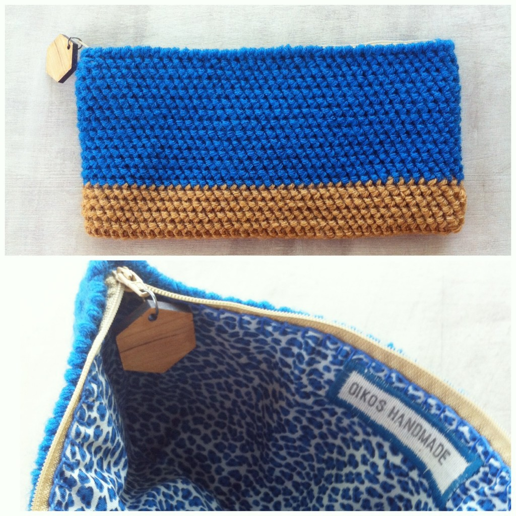 Copper and Royal Blue Clutch