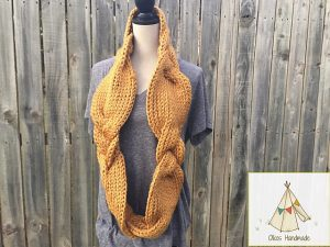 Golden Braided Infinity Scarf