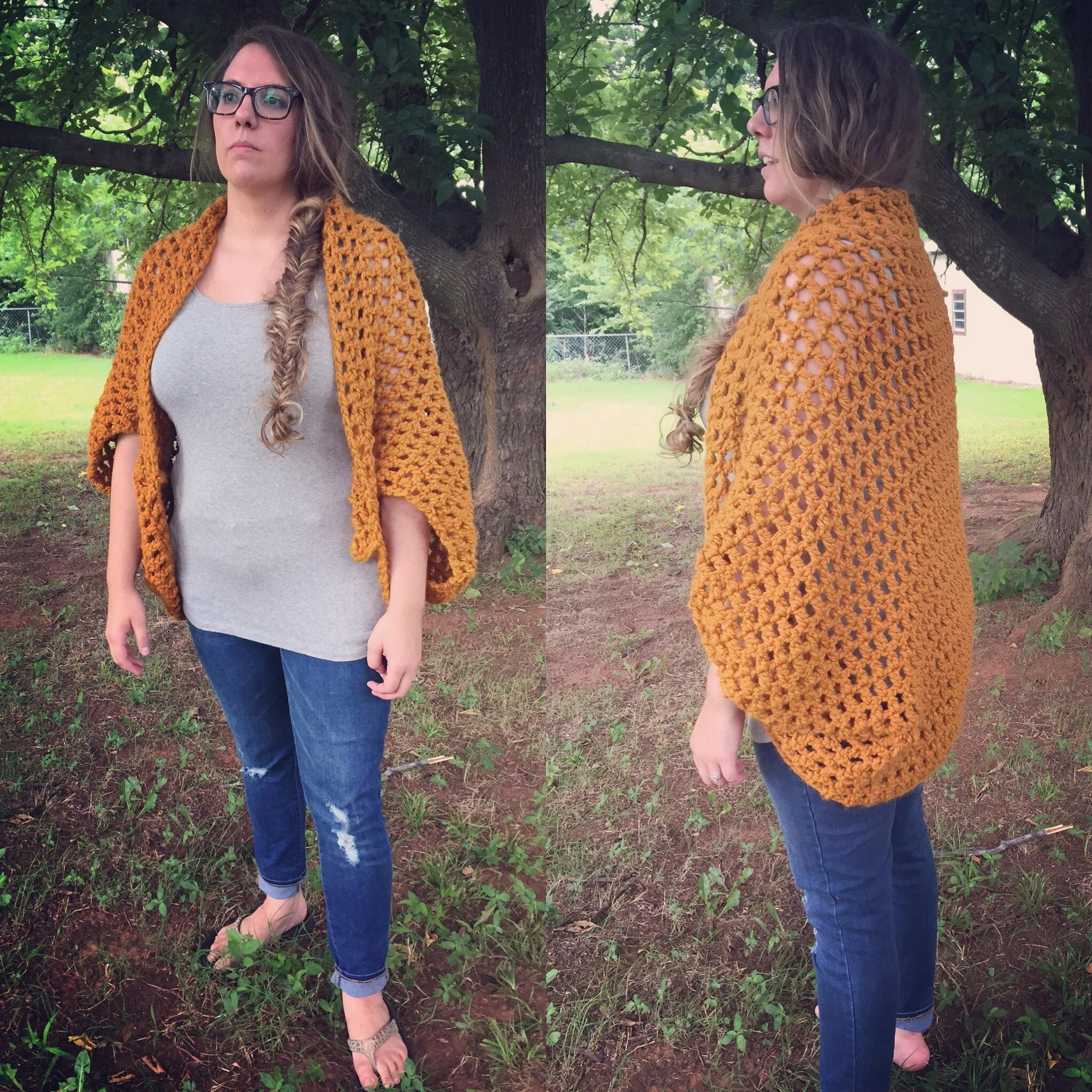 Oversize Crochet Shrug